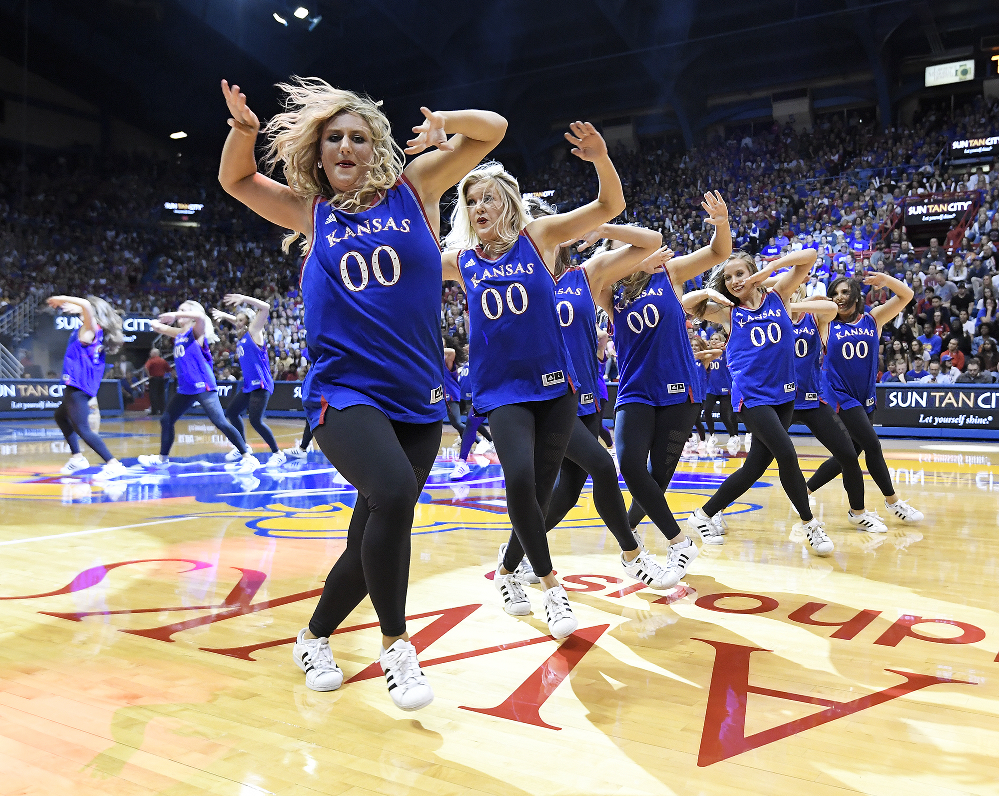 The Rock Chalk Dancers put on a show.