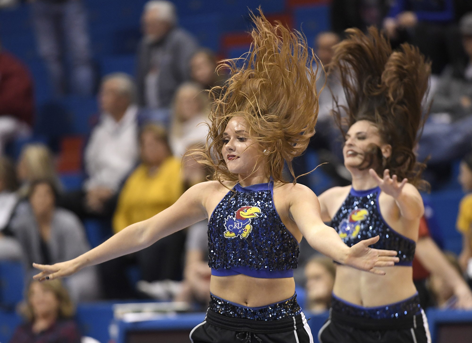 The Rock Chalk Dancers performed to the crowd.