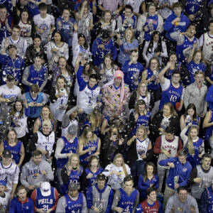 CONFETTI – KU students tossed confetti into the air during the introduction of the KU men's basketball starting lineup before the Jayhawks took on Villanova inside Allen Fieldhouse on Saturday, December 15.