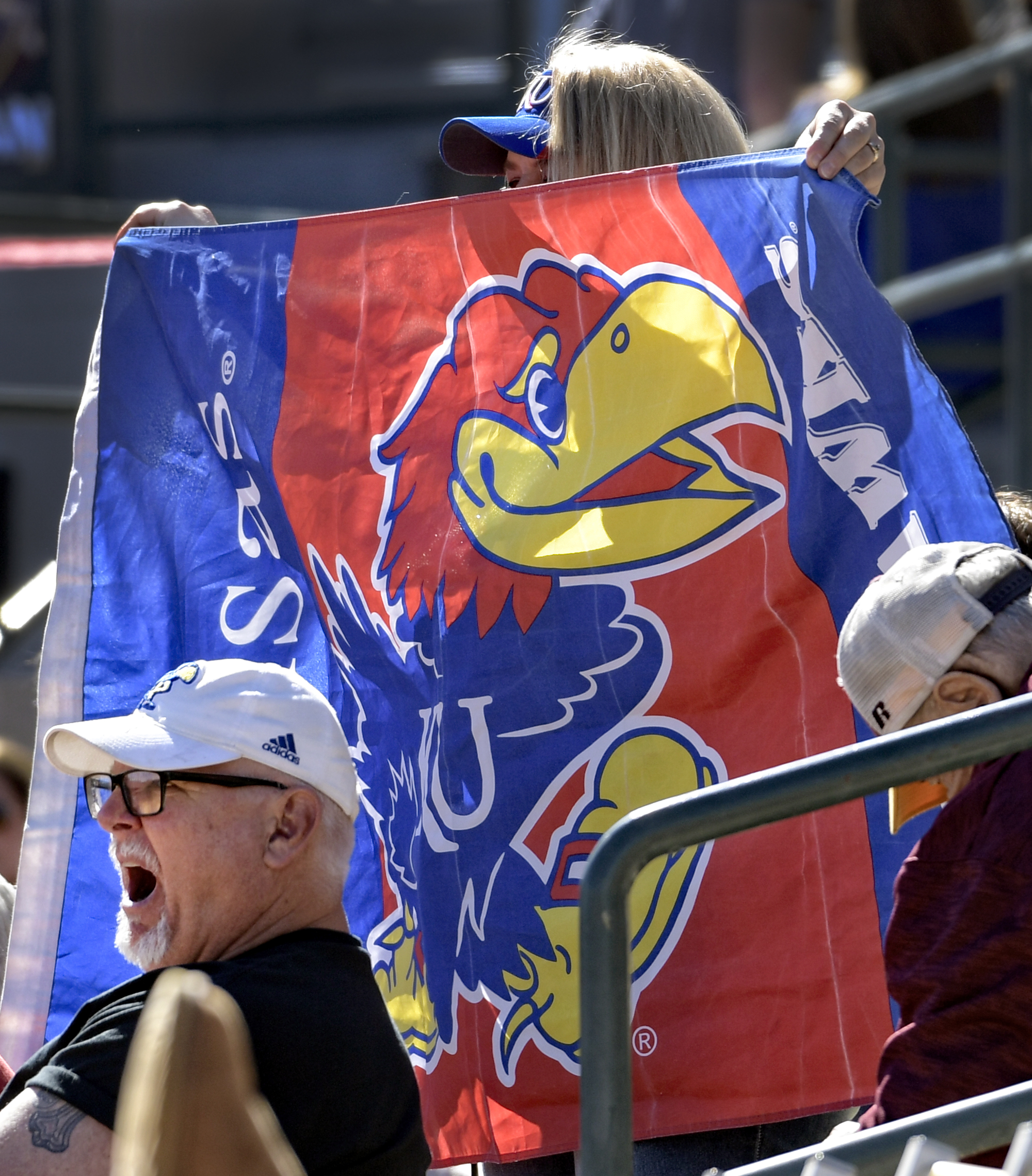 KU fans cheered on the Jayhawks in Tempe, Arizona.