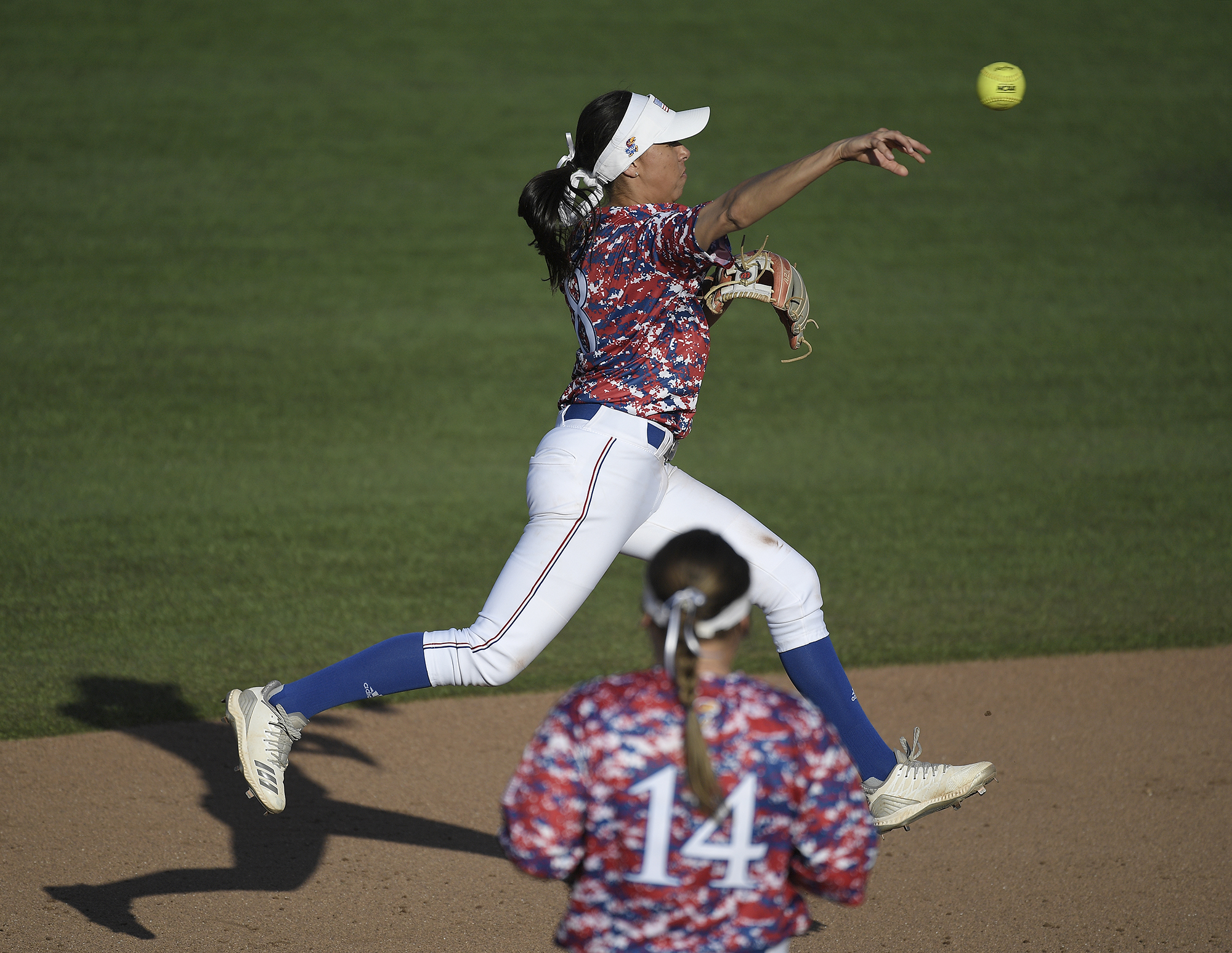 Miranda Rodriguez fired the ball to first.