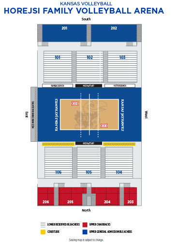 2019 Horejsi Family Volleyball Arena Seating Map Graphic