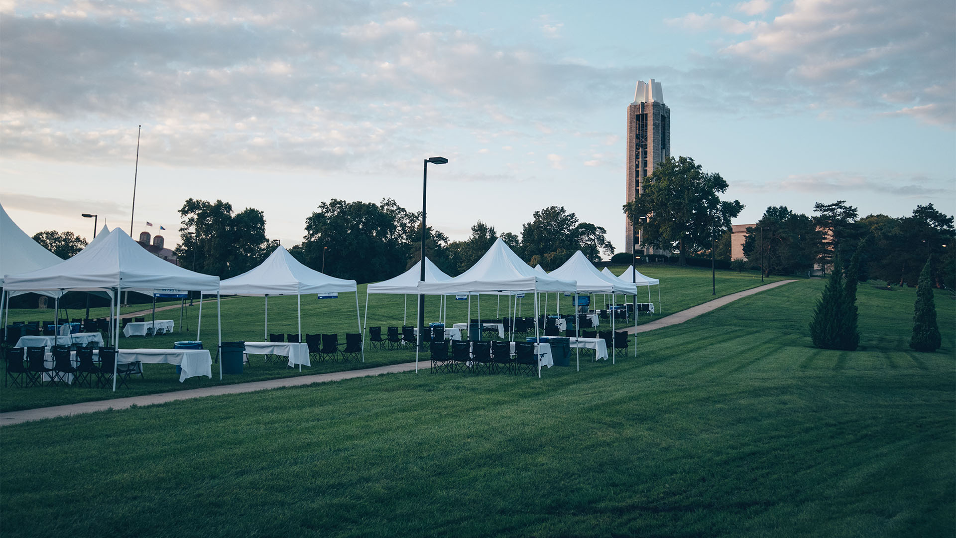 campanile hill full of tents indiana state
