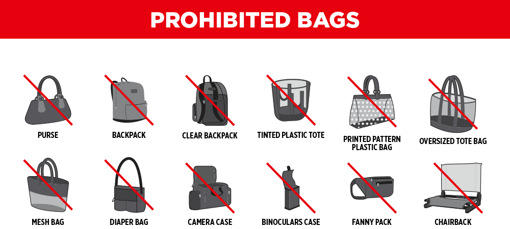 Clear Bag Policy Prohibited Bags Graphic