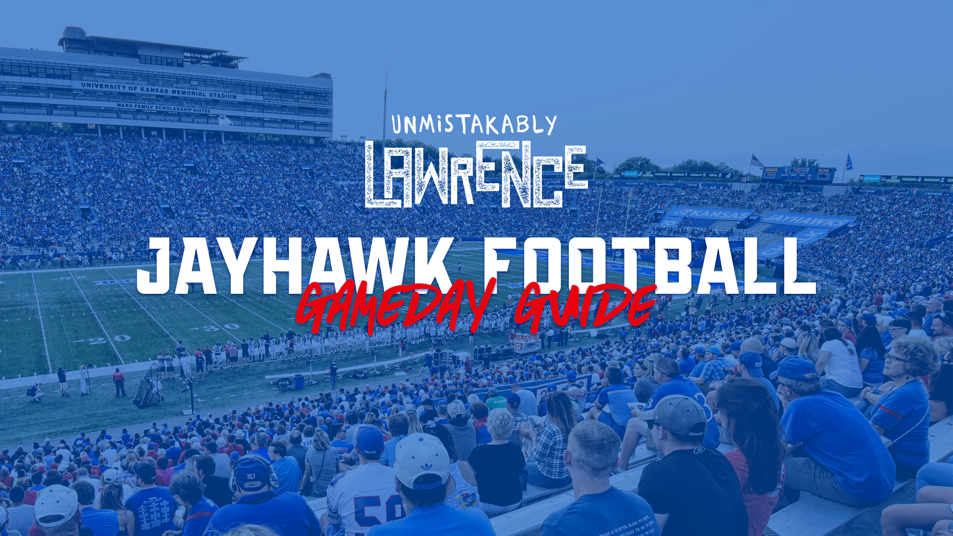 Explore Lawrence Gameday Football Guide Graphic