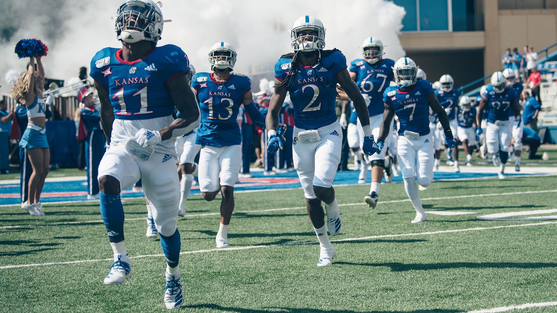players run onto field