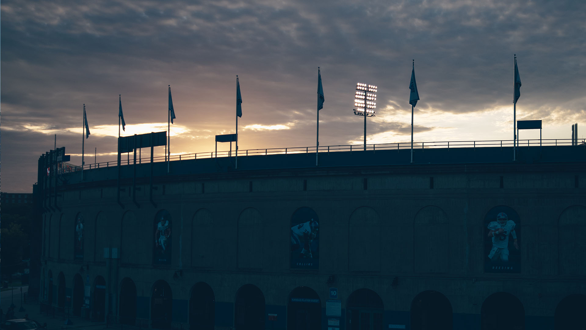 a sunrise over memorial stadium before indiana state
