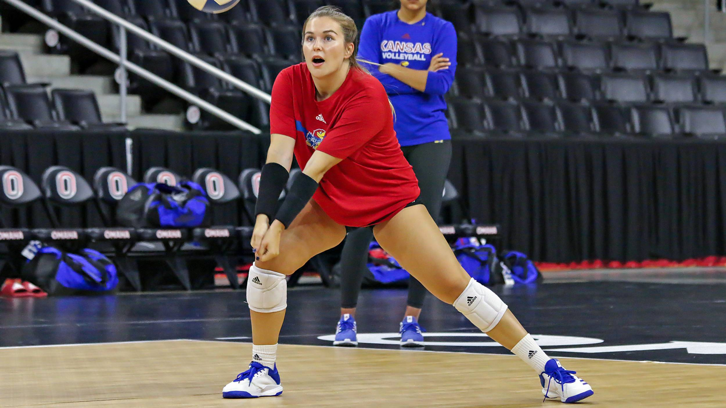 Lacey Angello goes for a dig during practice at Baxter Arena Sept. 3, 2019.