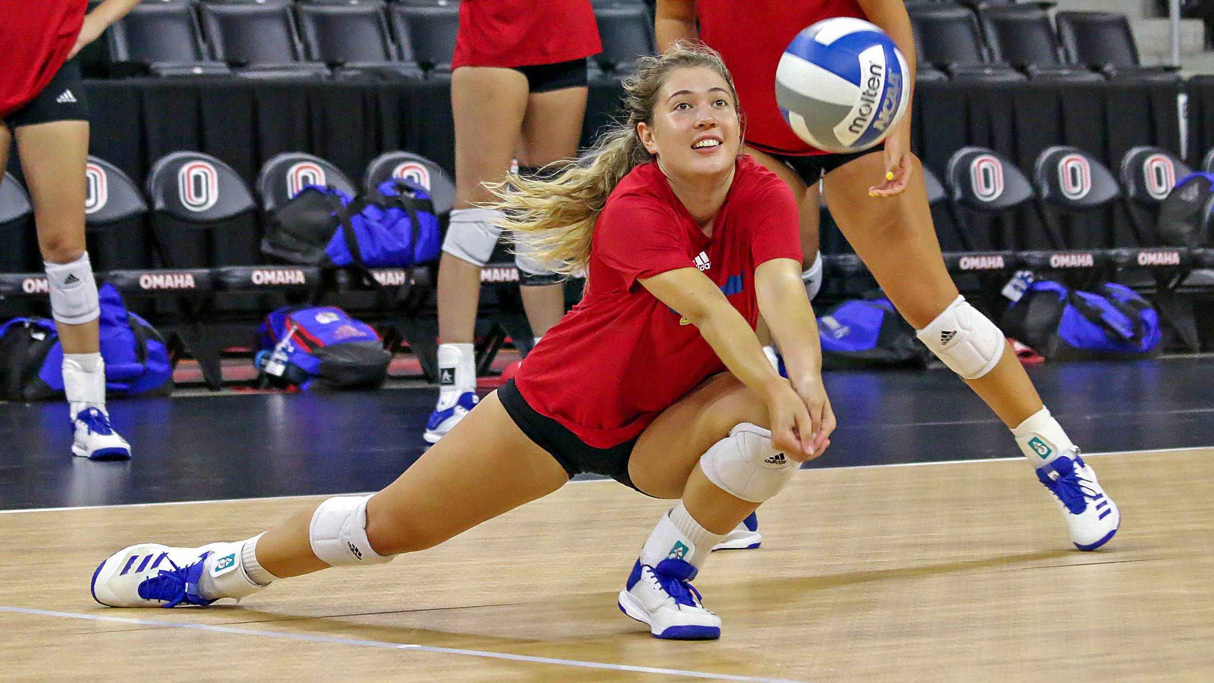 Sara Nielsen goes for a dig during practice at Baxter Arena Sept. 3, 2019.