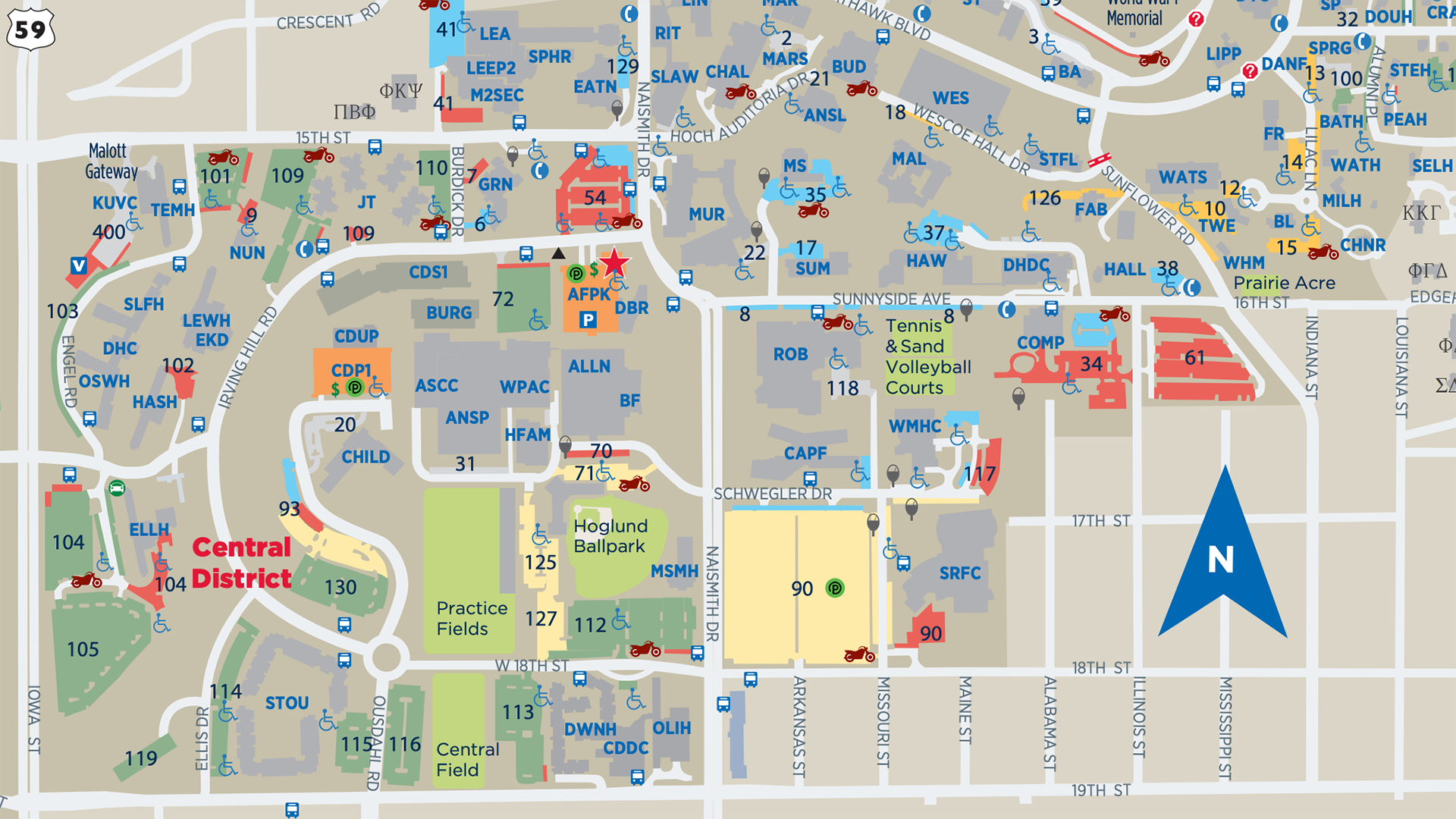 2019 late night parking map campus